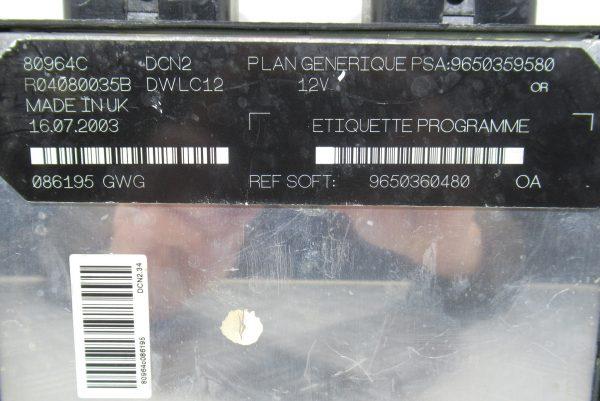 Calculateur Moteur Peugeot Partner 9650360480