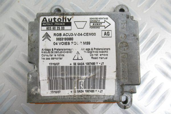 Calculateur d'airbag Peugeot Partner 9653190880 / 603602500