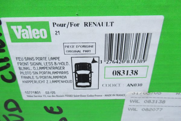 Clignotant avant droit Valeo Renault 21 / 083138