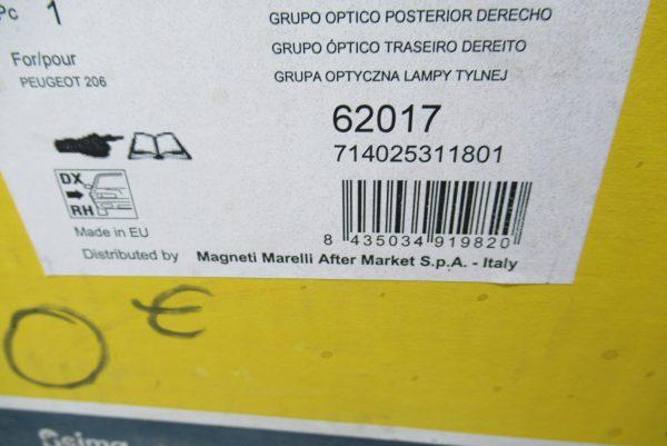 Feu arriere droit Peugeot 206 62017